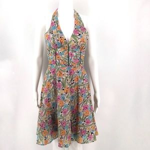 MOLLY NEW YORK Dress 4 Halter Floral Sundress Pink